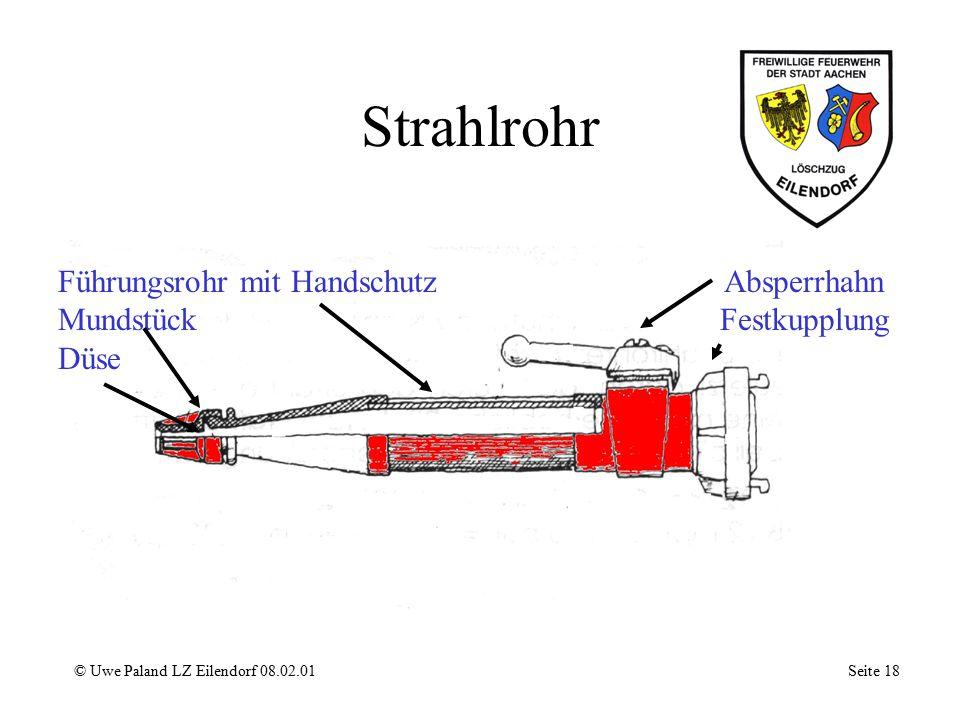 Schaumrohr © Uwe Paland LZ Eilendorf 08.02.01 Seite 17 Absperrhahn Störkörper Zentraldüse Lufteintritt Prallkörper Veredler - Sieb