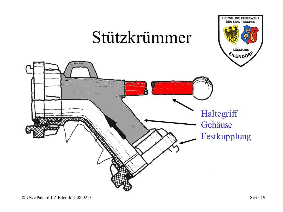Strahlrohr © Uwe Paland LZ Eilendorf 08.02.01 Seite 18 Absperrhahn Festkupplung Führungsrohr mit Handschutz Mundstück Düse