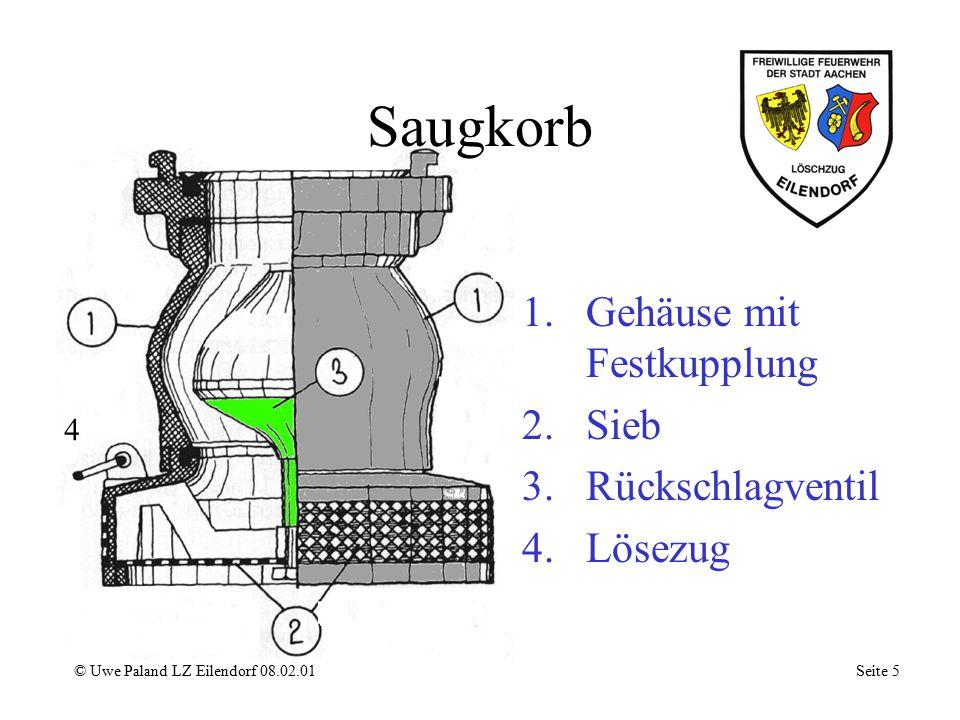Saugkorb © Uwe Paland LZ Eilendorf 08.02.01 Seite 5 1.Gehäuse mit Festkupplung 2.Sieb 3.Rückschlagventil 4.Lösezug 4