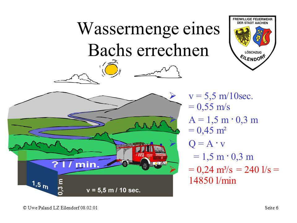 Wassermenge eines Bachs errechnen © Uwe Paland LZ Eilendorf 08.02.01 Seite 6 vv = 5,5 m/10sec.