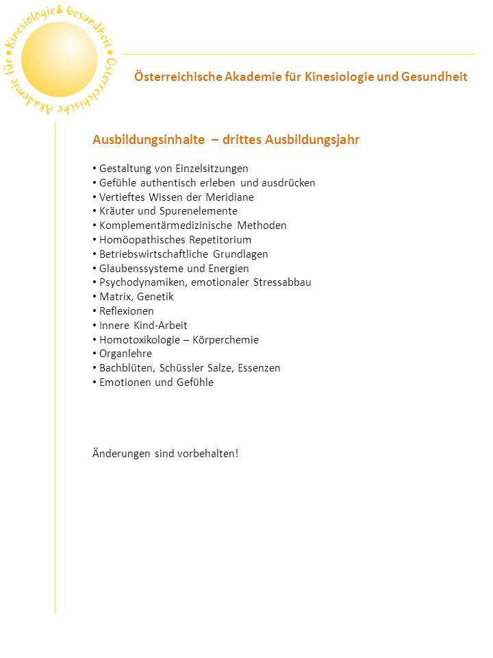 Ergänzung der Ausbildung (AKDK) Touch for Health I-IV Prof.