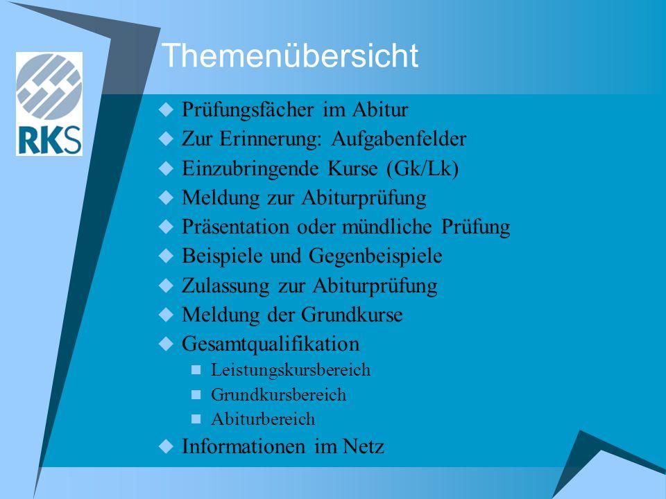 Themenübersicht  Prüfungsfächer im Abitur  Zur Erinnerung: Aufgabenfelder  Einzubringende Kurse (Gk/Lk)  Meldung zur Abiturprüfung  Präsentation