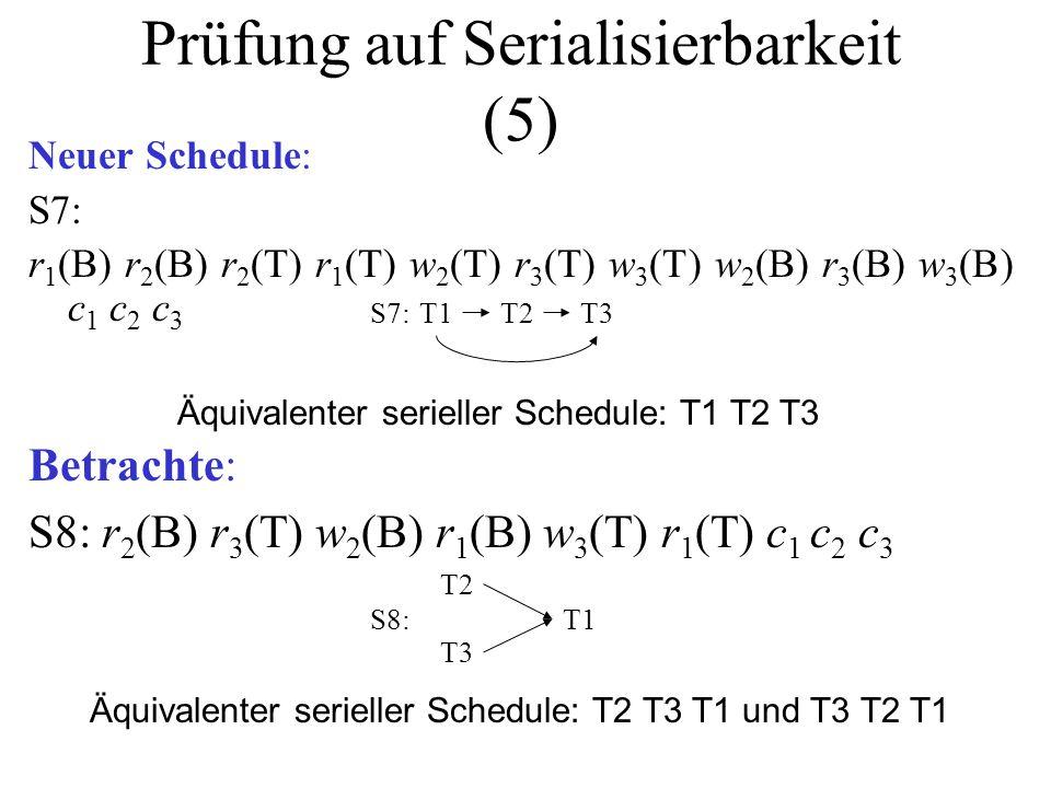 Prüfung auf Serialisierbarkeit (5) Neuer Schedule: S7: r 1 (B) r 2 (B) r 2 (T) r 1 (T) w 2 (T) r 3 (T) w 3 (T) w 2 (B) r 3 (B) w 3 (B) c 1 c 2 c 3 T1T2S7:T3 Äquivalenter serieller Schedule: T1 T2 T3 Betrachte: S8: r 2 (B) r 3 (T) w 2 (B) r 1 (B) w 3 (T) r 1 (T) c 1 c 2 c 3 T1 T2 S8: T3 Äquivalenter serieller Schedule: T2 T3 T1 und T3 T2 T1