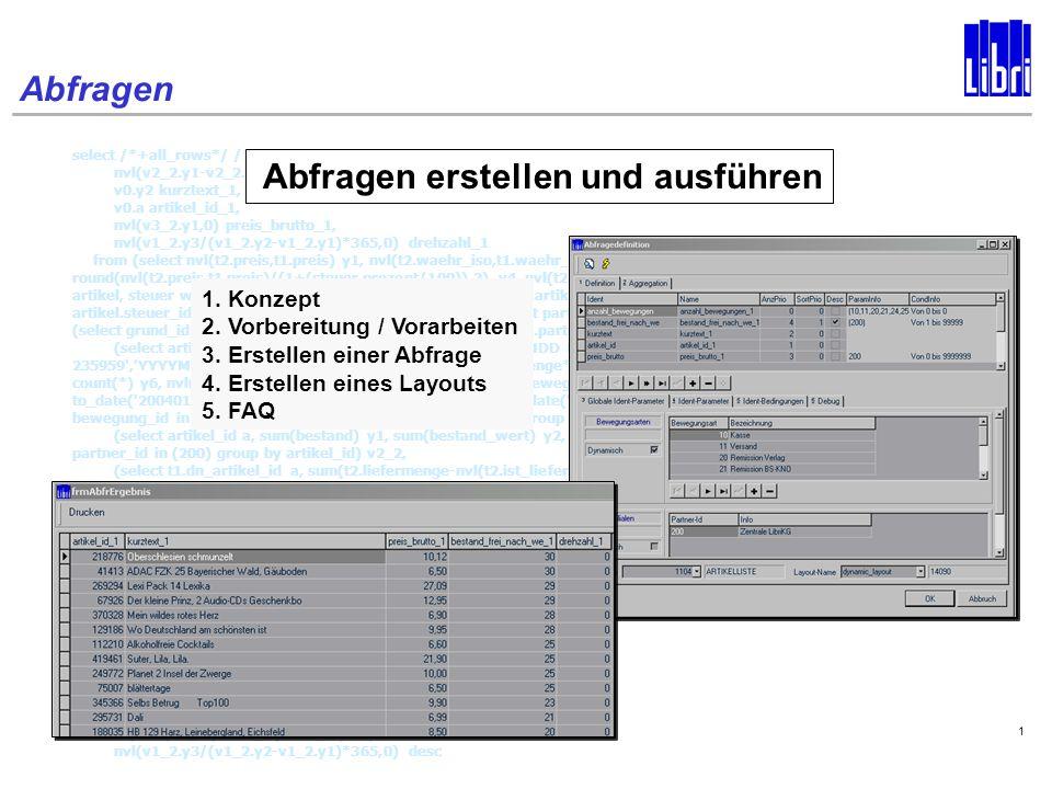 Abfragen 1 select /*+all_rows*/ /*ad_artikel*/ nvl(v1_2.y6,0) anzahl_bewegungen_1, nvl(v2_2.y1-v2_2.y3-v4_2.y1,0) bestand_frei_nach_we_1, v0.y2 kurztext_1, v0.a artikel_id_1, nvl(v3_2.y1,0) preis_brutto_1, nvl(v1_2.y3/(v1_2.y2-v1_2.y1)*365,0) drehzahl_1 from (select nvl(t2.preis,t1.preis) y1, nvl(t2.waehr_iso,t1.waehr_iso) y2, steuer.prozent y3, round(nvl(t2.preis,t1.preis)/(1+(steuer.prozent/100)),2) y4, nvl(t2.artikel_id,t1.artikel_id) a from art_plu t1, art_plu t2, artikel, steuer where t2.artikel_id(+)=t1.artikel_id and artikel.artikel_id = nvl(t2.artikel_id,t1.artikel_id) and artikel.steuer_id = steuer.steuer_id and t1.partner_id = (select partner_Id from grundeinstellungen where grund_id = (select grund_id from filialen where partner_id=(200))) and t2.partner_id(+) = (200)) v3_2, (select artikel_id a, to_date( 20040101 000000 , YYYYMMDD HH24MISS ) y1, to_date( 20041231 235959 , YYYYMMDD HH24MISS ) y2, sum(menge) y3, sum(menge*preis_brutto) y4, sum(menge*preis_netto) y5, count(*) y6, nvl(sum(menge*preis_buchung),0) y7 from art_bewegungen where beweg_datum between to_date( 20040101 000000 , YYYYMMDD HH24MISS ) and to_date( 20041231 235959 , YYYYMMDD HH24MISS ) and bewegung_id in (10,11,20,21,24,25) and partner_id in (200) group by artikel_id) v1_2, (select artikel_id a, sum(bestand) y1, sum(bestand_wert) y2, sum(bestand_reserviert) y3 from art_lagerorte where partner_id in (200) group by artikel_id) v2_2, (select t1.dn_artikel_id a, sum(t2.liefermenge-nvl(t2.ist_liefermenge,0)) y1 from auft_eint_empf t1, auft_eint t2 where t2.auftkopf_id = t1.auftkopf_id and t2.auftpos_nr = t1.auftpos_nr and t2.aufteint_nr = t1.aufteint_nr and t1.status_Id = 10 and t1.partner_id_fil in (200) and t1.empfaenger = VM group by t1.dn_artikel_id) v4_2, (select a.artikel_id a, a.steuer_id y1, a.kurztext y2, a.Wgr_id y3, a.Partner_id y4, a.pflegestatus_id y5, a.anlage_datum y6, a.fz_schema_id y7, a.langtext y8, w.bezeichnung y9, f.bezeichnung y10, s.prozent y11, p.bezeichnung y12 from a