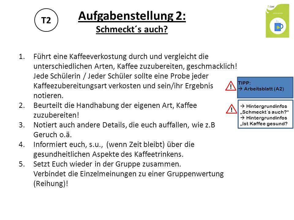 A2 ZubereitungsartGeschmacks- wertung (Schulnote) Handhabung (nur eigene Zubereitungsart) (Schulnote) gesundheitliche Aspekte (Schulnote) Gruppen- wertung (Reihen- folge) Kapselmaschine (z.B.