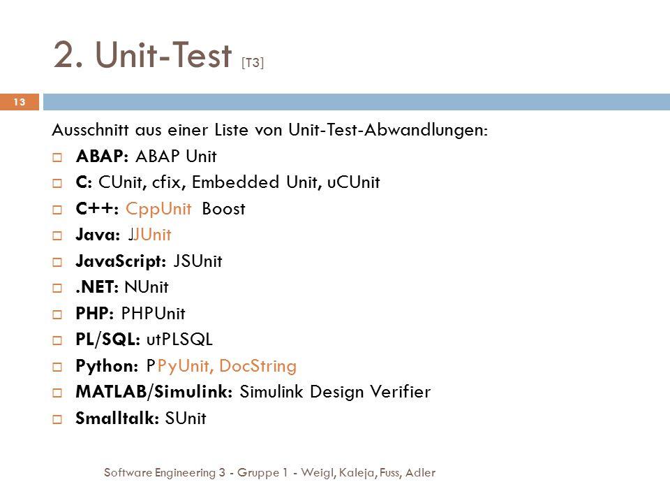 2. Unit-Test [T3] Software Engineering 3 - Gruppe 1 - Weigl, Kaleja, Fuss, Adler 13 Ausschnitt aus einer Liste von Unit-Test-Abwandlungen:  ABAP: ABA