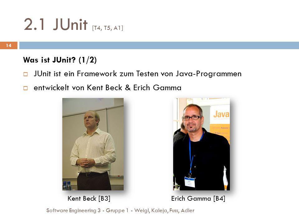 2.1 JUnit [T4, T5, A1] Software Engineering 3 - Gruppe 1 - Weigl, Kaleja, Fuss, Adler 14 Was ist JUnit? (1/2)  JUnit ist ein Framework zum Testen von