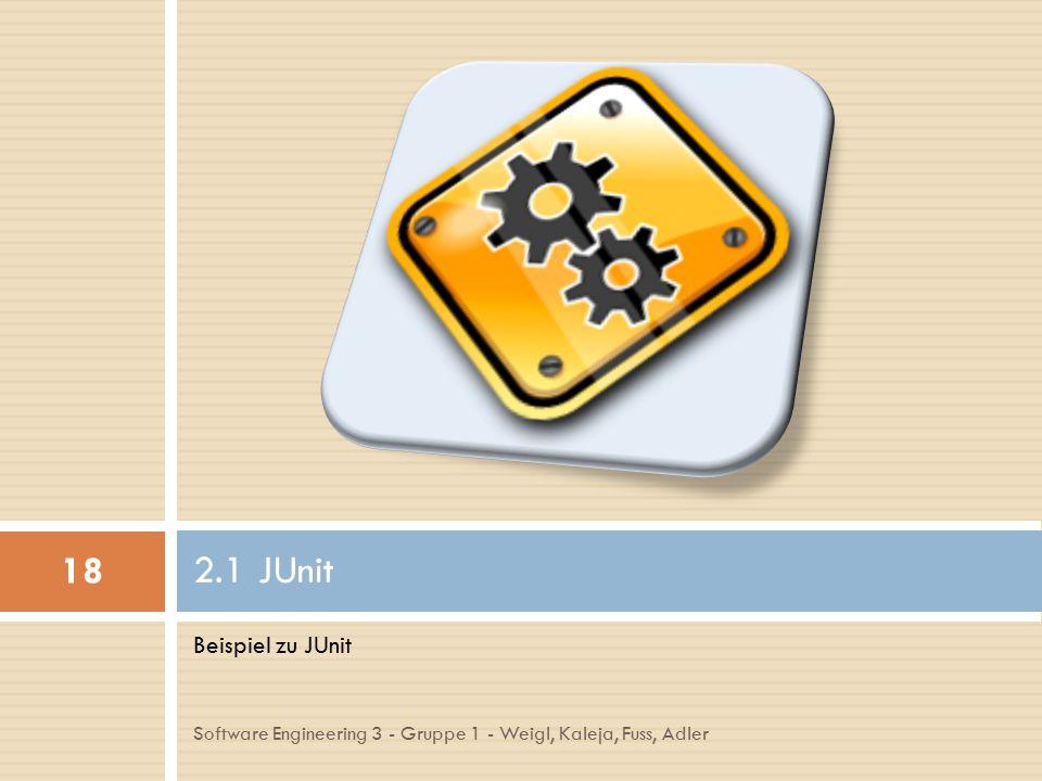 Beispiel zu JUnit 2.1 JUnit 18 Software Engineering 3 - Gruppe 1 - Weigl, Kaleja, Fuss, Adler