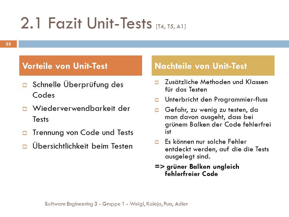 2.1 Fazit Unit-Tests [T4, T5, A1]  Schnelle Überprüfung des Codes  Wiederverwendbarkeit der Tests  Trennung von Code und Tests  Übersichtlichkeit