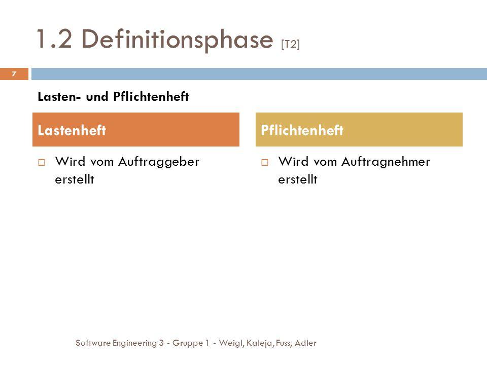 1.2 Definitionsphase [T2]  Wird vom Auftraggeber erstellt  Wird vom Auftragnehmer erstellt 7 Software Engineering 3 - Gruppe 1 - Weigl, Kaleja, Fuss