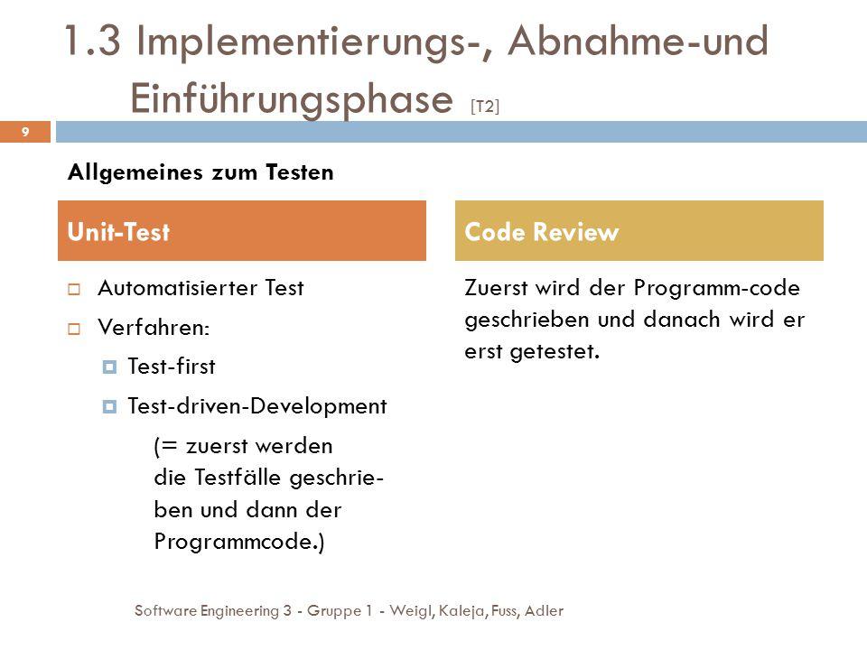  Höherer Arbeitsaufwand 2.2 Python [T6, T7]  Test getrennt von Quellcode in eigenen Testklassen  Vollständig in Python-Code geschrieben  Einfacher ausführbar 20 Software Engineering 3 - Gruppe 1 - Weigl, Kaleja, Fuss, Adler VorteileNachteile Vergleich von PyUnit zu doctest