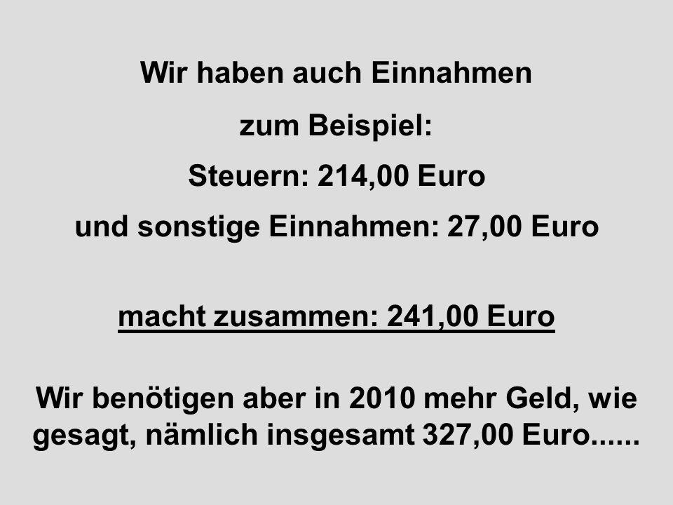 Für dieses Jahr 2010 haben wir schon einen Haushaltsplan entwickelt! Unsere Ausgaben betragen: 327 Milliarden Euro Wir streichen wieder die lästigen N