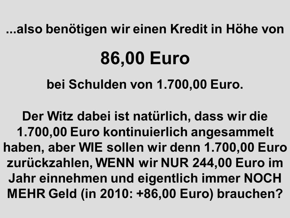 Wir haben auch Einnahmen zum Beispiel: Steuern: 214,00 Euro und sonstige Einnahmen: 27,00 Euro macht zusammen: 241,00 Euro Wir benötigen aber in 2010 mehr Geld, wie gesagt, nämlich insgesamt 327,00 Euro......