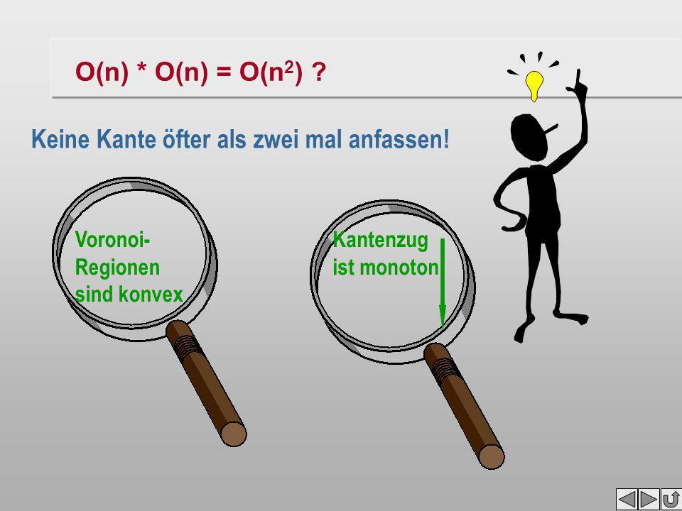 O(n) * O(n) = O(n 2 ) ? Voronoi- Regionen sind konvex Kantenzug ist monoton war jetzt alles umsonst?