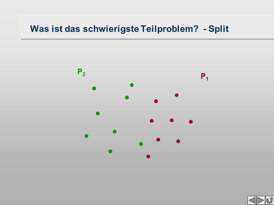 """Konstruktion des Voronoi-Diagramms """"Divide and Conquer 1.Input: Gegeben ist eine Menge P von mindestens 2 Punkten 2.Split: Zerlege P in zwei etwa gleich große Teilmengen P 1 und P 2 3.Rekursiv: Berechne Voronoi-Diagramme von VD(P 1 ) und VD(P 2 ) 4.Merge: Verknüpfe VD(P 1 ) und VD(P 2 ) 5.Halt: Der Abschluß ist erreicht, wenn das Voronoi-Diagramm eines Punktes zu bilden ist, dies ist die ganze Ebene Wie oft ist dieser Zyklus zu durchlaufen?log n mal Die gewünschte Laufzeit O(n * log n) wird erreicht, wenn """" Split and """" Merge nicht mehr als O(n) Schritte benötigen, Was ist das schwierigste Teilproblem?"""