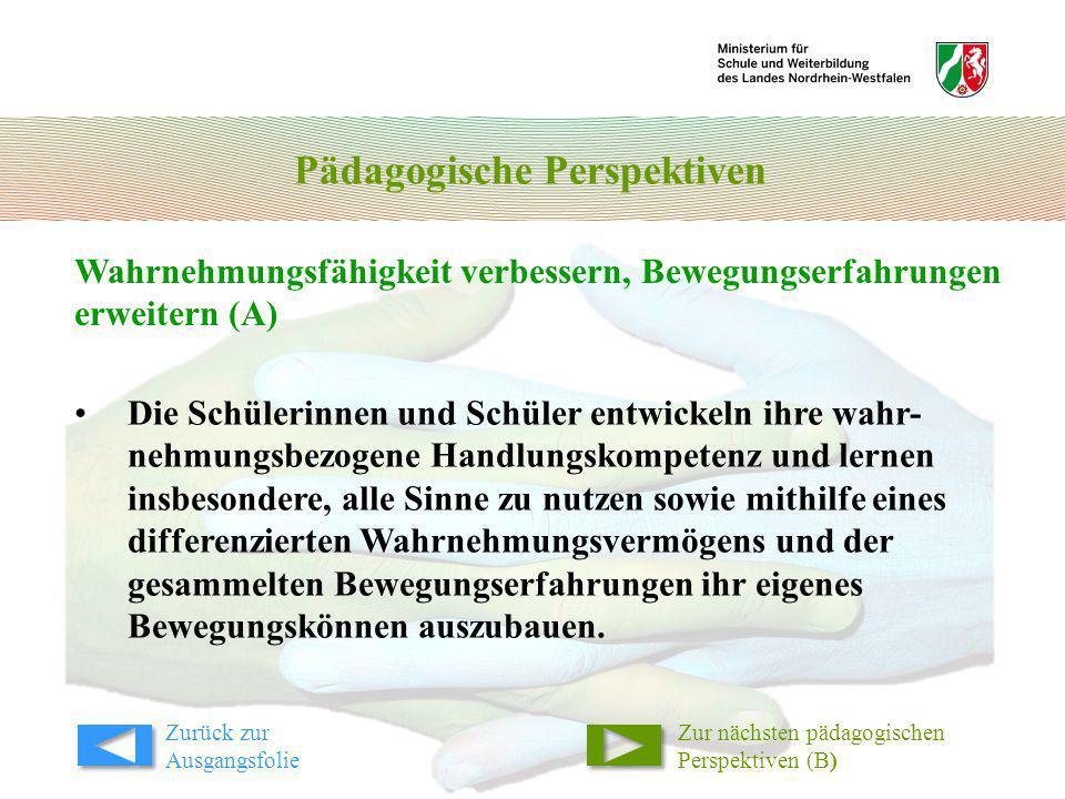 Pädagogische Perspektiven Wahrnehmungsfähigkeit verbessern, Bewegungserfahrungen erweitern (A) Zur nächsten pädagogischen Perspektiven (B) Die Schüler