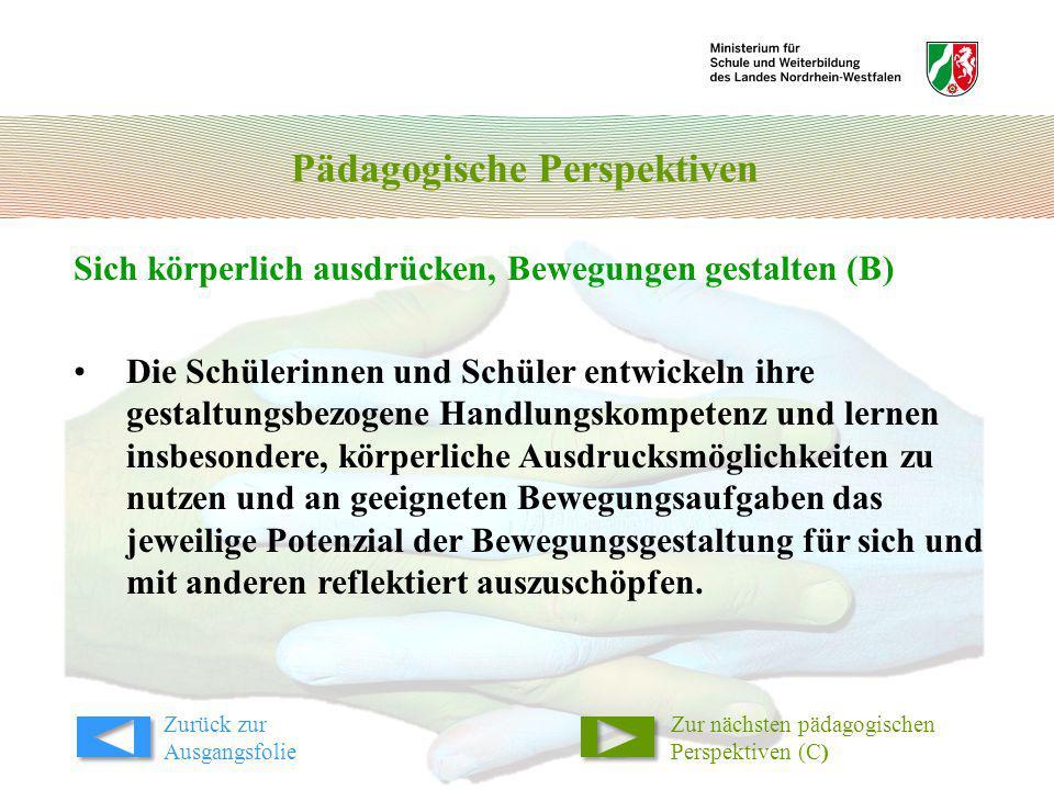 Pädagogische Perspektiven Sich körperlich ausdrücken, Bewegungen gestalten (B) Zur nächsten pädagogischen Perspektiven (C) Die Schülerinnen und Schüle