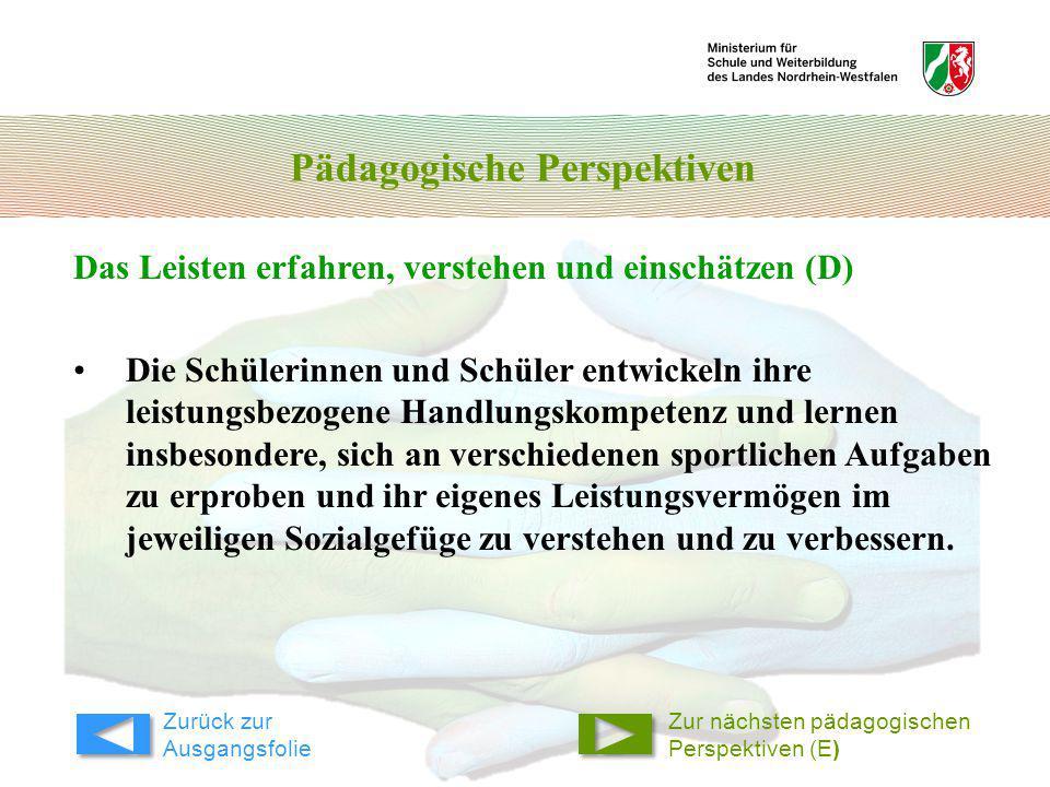 Pädagogische Perspektiven Das Leisten erfahren, verstehen und einschätzen (D) Zur nächsten pädagogischen Perspektiven (E) Die Schülerinnen und Schüler