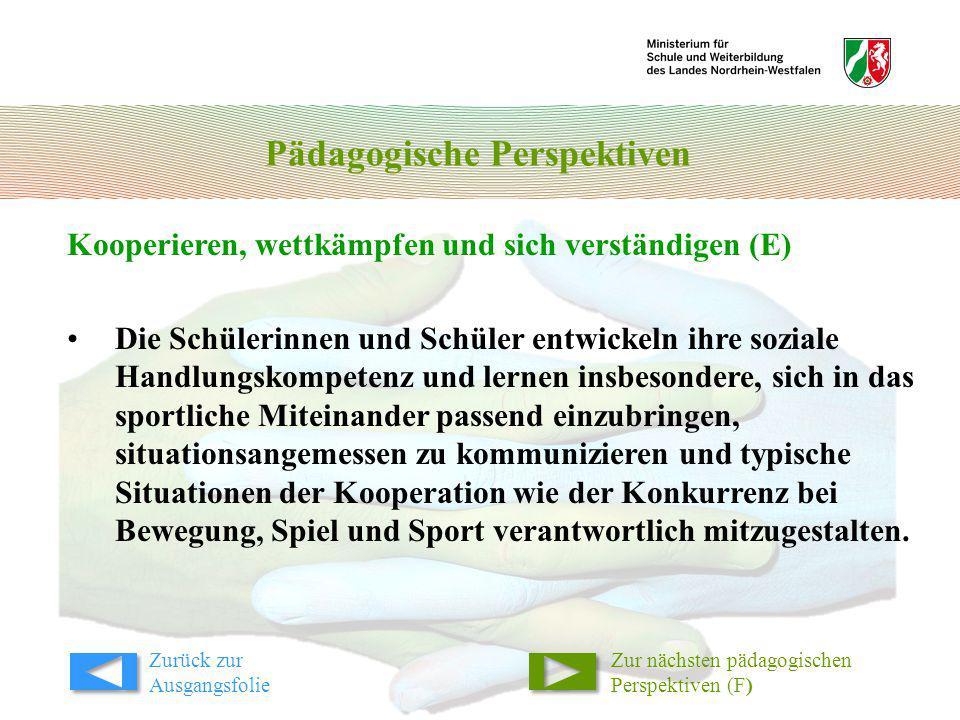 Pädagogische Perspektiven Kooperieren, wettkämpfen und sich verständigen (E) Zur nächsten pädagogischen Perspektiven (F) Die Schülerinnen und Schüler