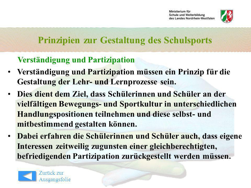 Prinzipien zur Gestaltung des Schulsports Verständigung und Partizipation Zurück zur Ausgangsfolie Verständigung und Partizipation müssen ein Prinzip