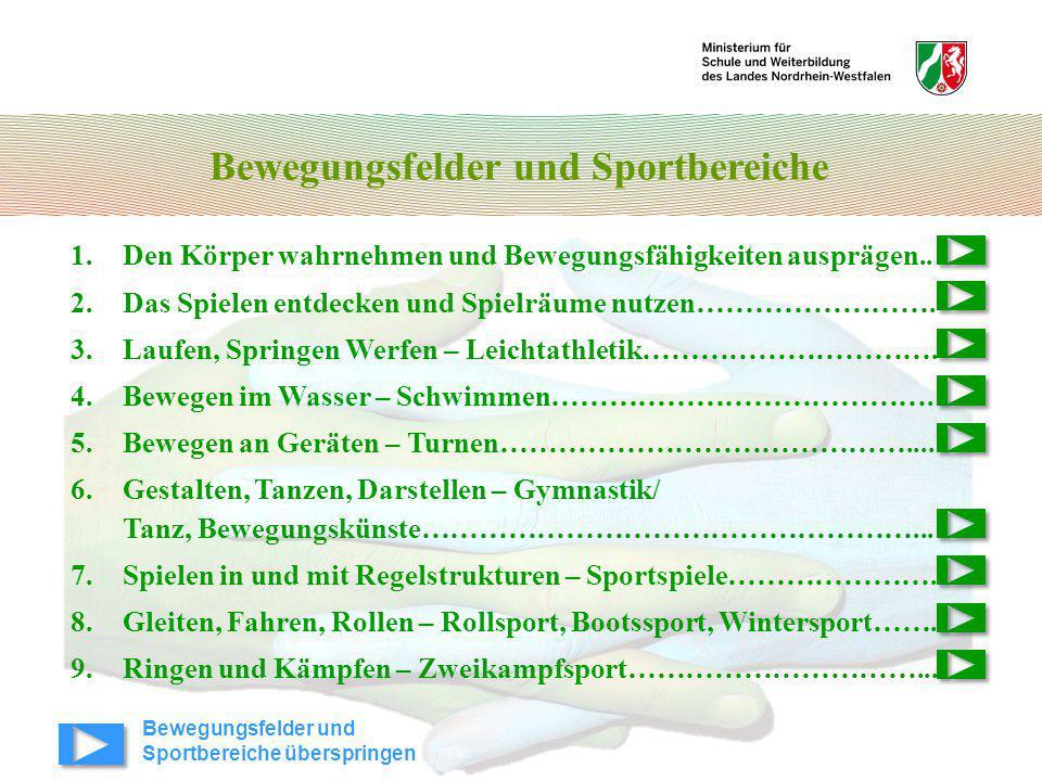 Bewegungsfelder und Sportbereiche 1.Den Körper wahrnehmen und Bewegungsfähigkeiten ausprägen.. 2.Das Spielen entdecken und Spielräume nutzen…………………….