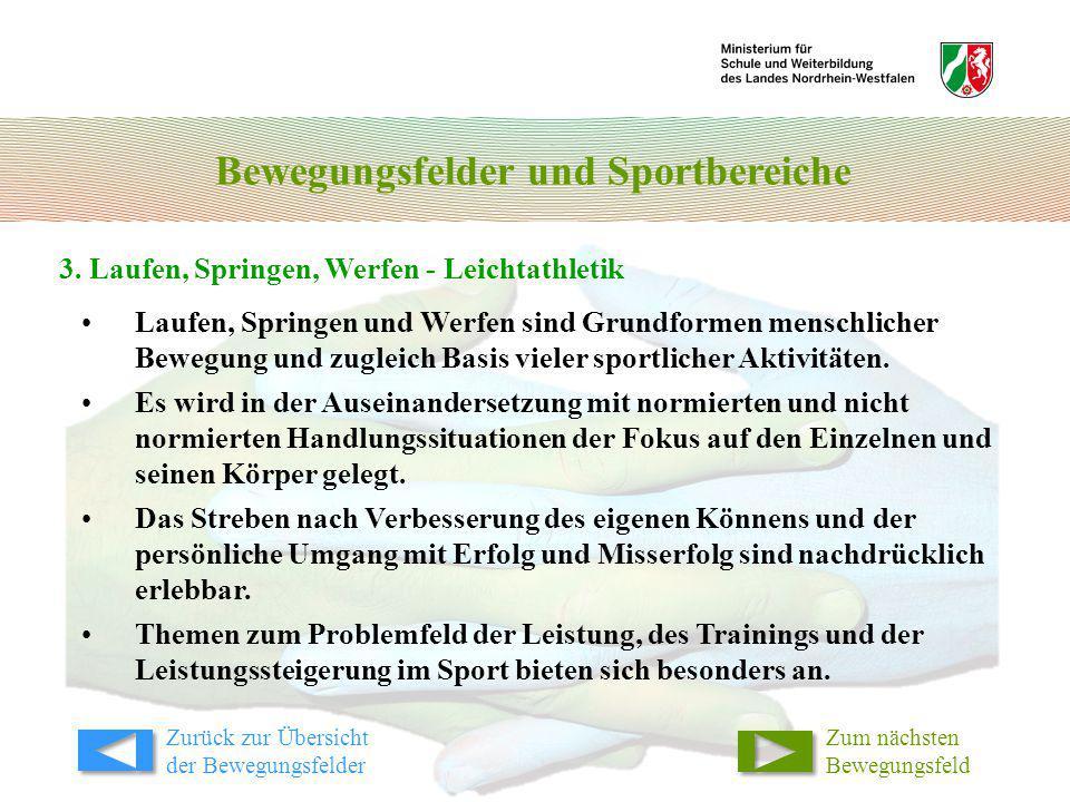 Bewegungsfelder und Sportbereiche 3. Laufen, Springen, Werfen - Leichtathletik Laufen, Springen und Werfen sind Grundformen menschlicher Bewegung und