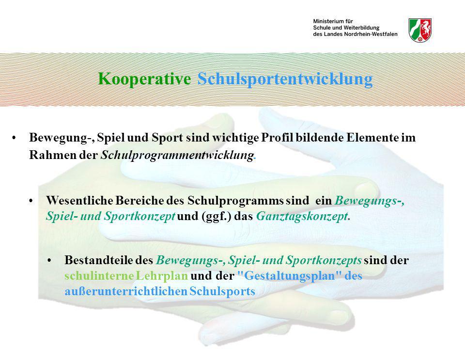 Kooperative Schulsportentwicklung Bewegung-, Spiel und Sport sind wichtige Profil bildende Elemente im Rahmen der Schulprogrammentwicklung. Wesentlich