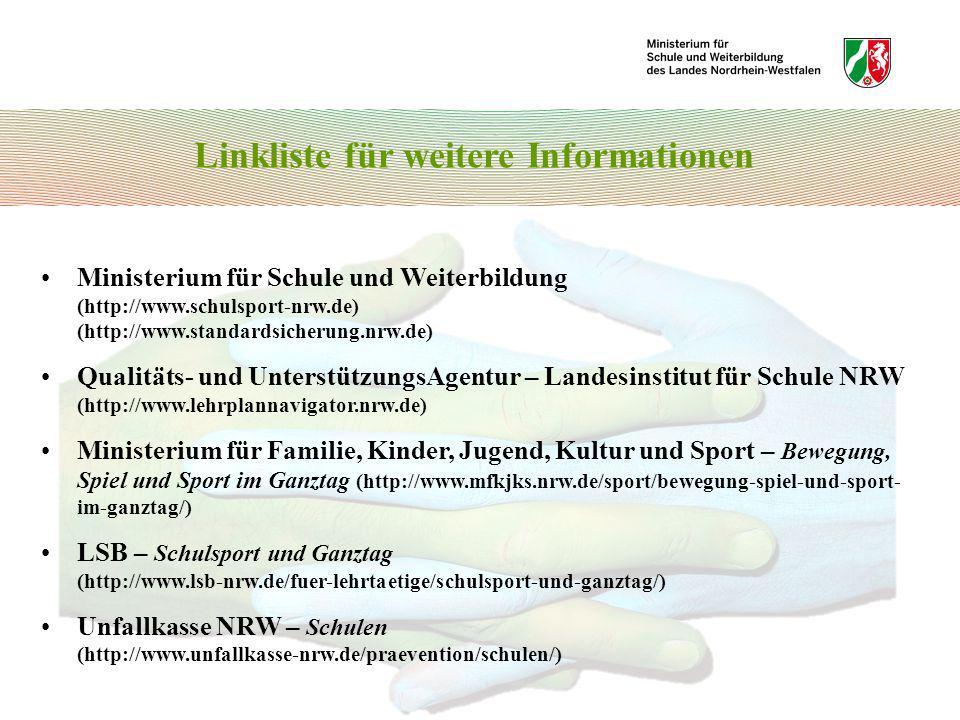 Ministerium für Schule und Weiterbildung (http://www.schulsport-nrw.de) (http://www.standardsicherung.nrw.de) Qualitäts- und UnterstützungsAgentur – L