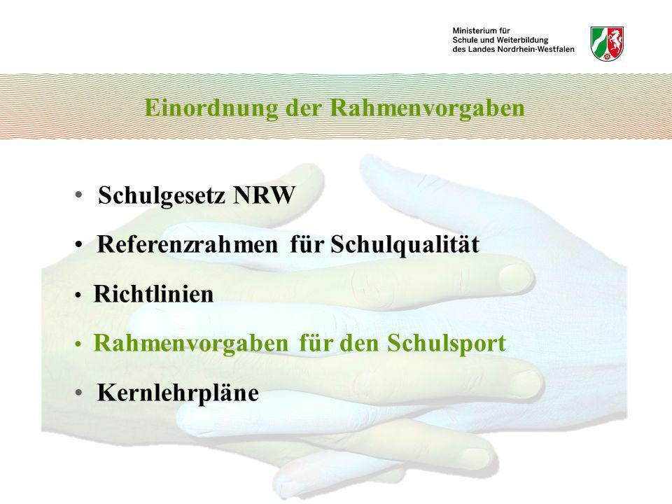 Schulgesetz NRW Referenzrahmen für Schulqualität Richtlinien Rahmenvorgaben für den Schulsport Kernlehrpläne Einordnung der Rahmenvorgaben