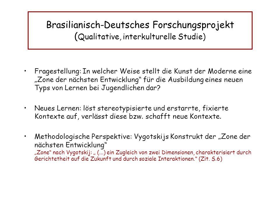 """Brasilianisch-Deutsches Forschungsprojekt ( Qualitative, interkulturelle Studie) Fragestellung: In welcher Weise stellt die Kunst der Moderne eine """"Zo"""