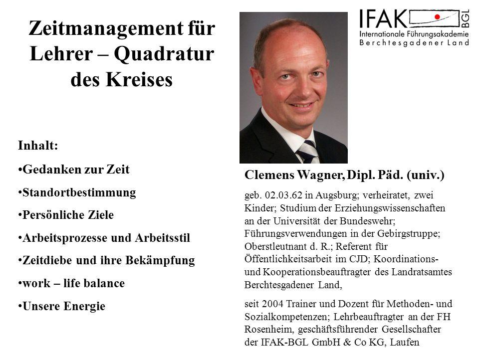 Clemens Wagner, Dipl. Päd. (univ.) geb. 02.03.62 in Augsburg; verheiratet, zwei Kinder; Studium der Erziehungswissenschaften an der Universität der Bu