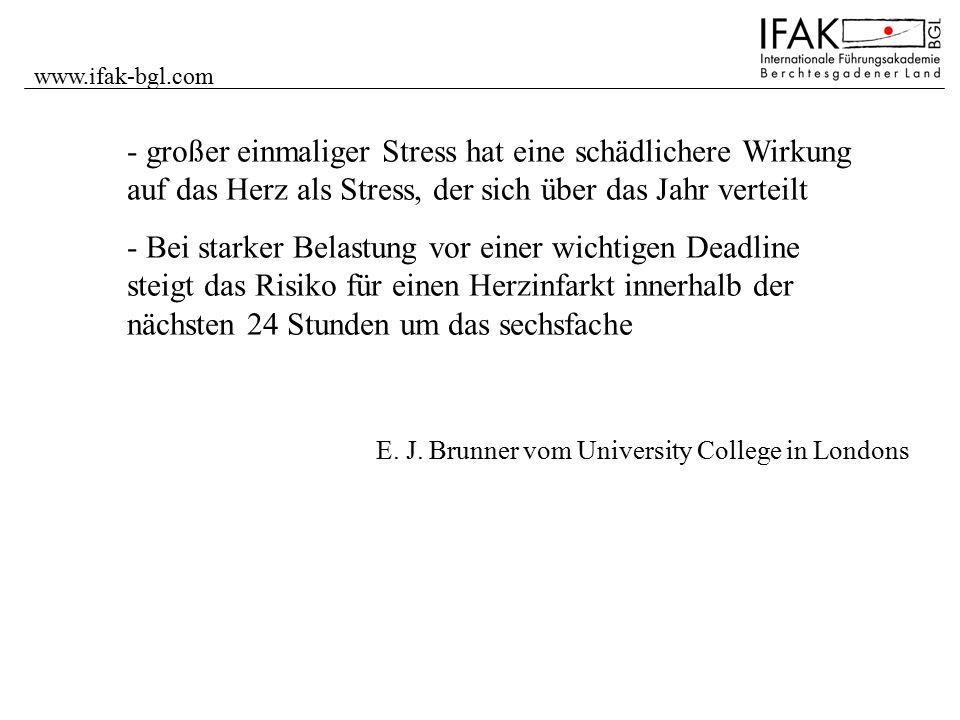 www.ifak-bgl.com E. J. Brunner vom University College in Londons - großer einmaliger Stress hat eine schädlichere Wirkung auf das Herz als Stress, der