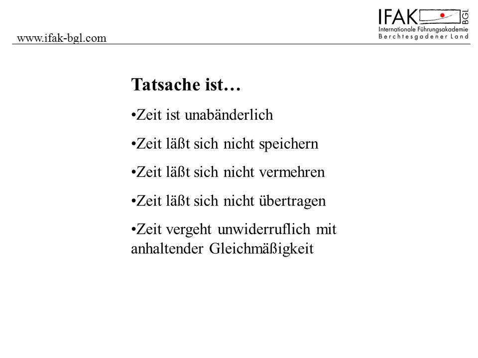 www.ifak-bgl.com Wichtigkeit Dringlichkeit B-Aufgaben strategisch planen und terminieren A-Aufgaben sofort tun (selbst) Angemessen Zeit nehmen.