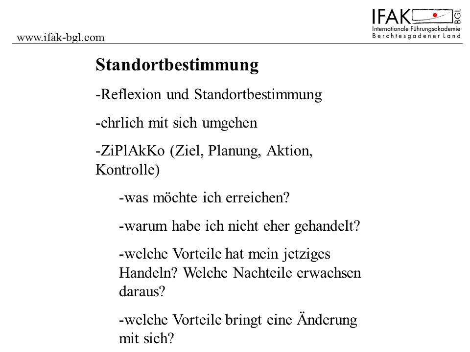 www.ifak-bgl.com Standortbestimmung -Reflexion und Standortbestimmung -ehrlich mit sich umgehen -ZiPlAkKo (Ziel, Planung, Aktion, Kontrolle) -was möch