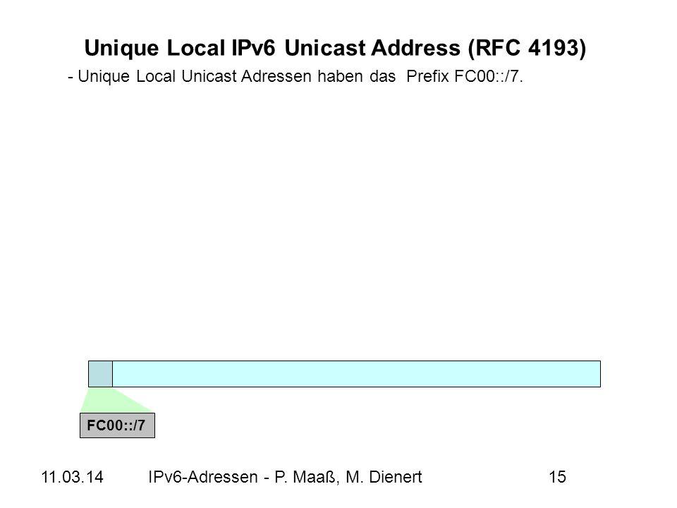 11.03.14IPv6-Adressen - P. Maaß, M. Dienert15 - Unique Local Unicast Adressen haben das Prefix FC00::/7. Unique Local IPv6 Unicast Address (RFC 4193)