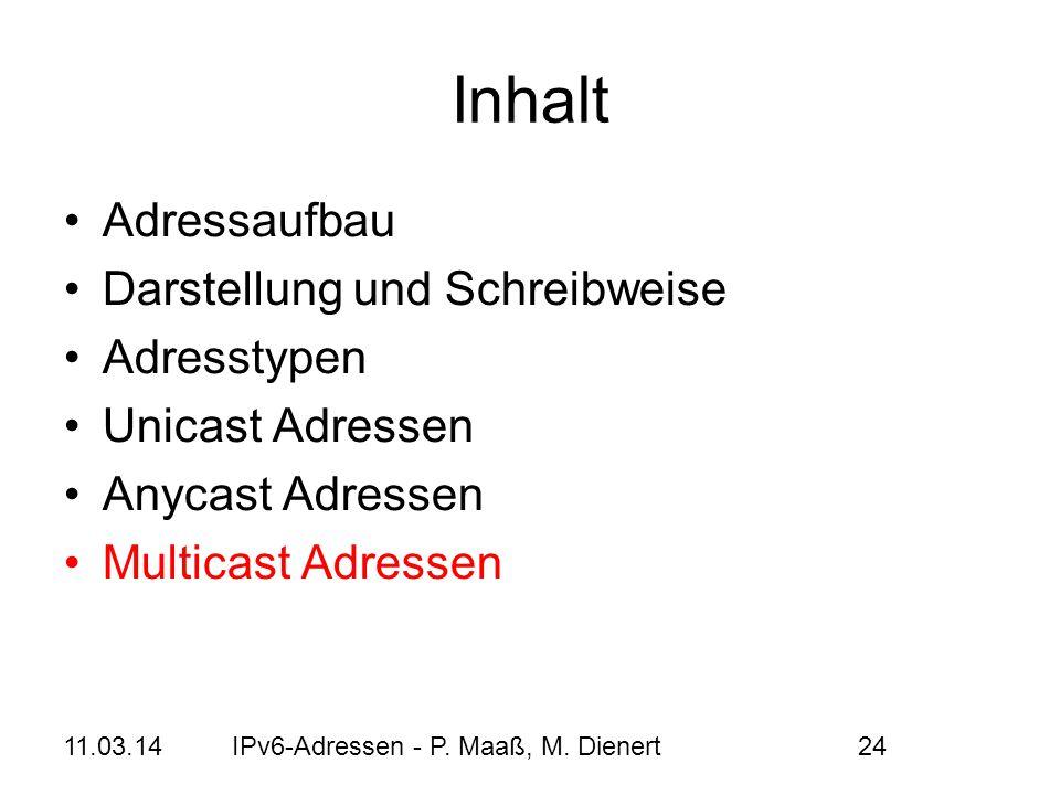 11.03.14IPv6-Adressen - P. Maaß, M. Dienert24 Inhalt Adressaufbau Darstellung und Schreibweise Adresstypen Unicast Adressen Anycast Adressen Multicast