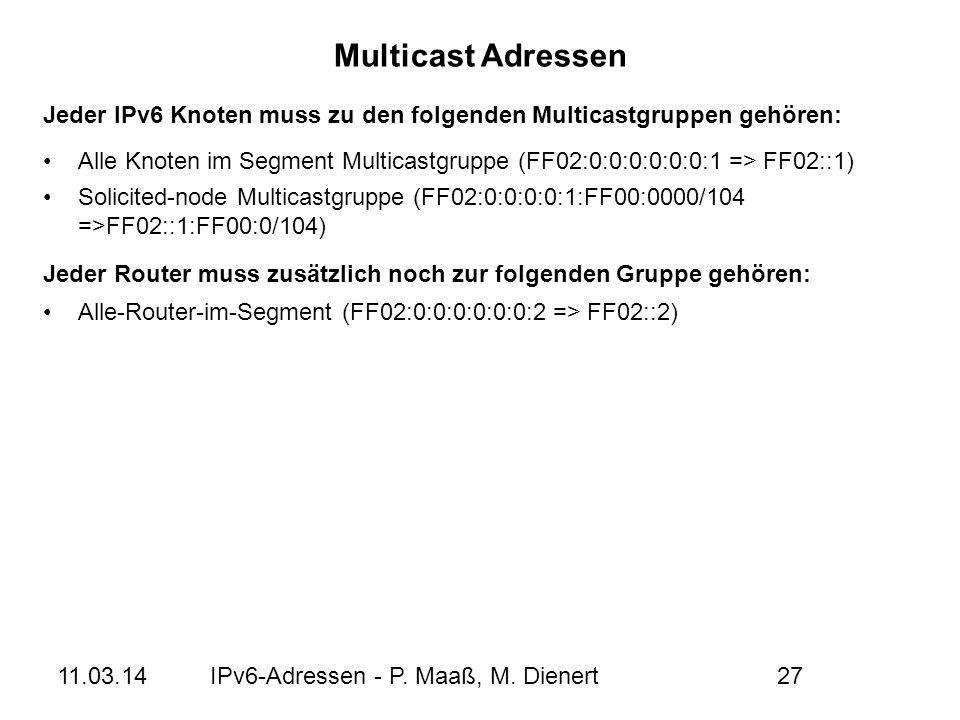 11.03.14IPv6-Adressen - P. Maaß, M. Dienert27 Alle Knoten im Segment Multicastgruppe (FF02:0:0:0:0:0:0:1 => FF02::1) Solicited-node Multicastgruppe (F