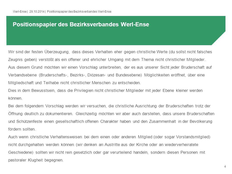 5 Werl-Ense   29.10.2014   Positionspapier des Bezirksverbandes Werl-Ense (http://schuetzen.erzbistum- koeln.de/export/sites/schuetzen/Service/service_infos/satzung_bruderschaft_beispiel.doc)http://schuetzen.erzbistum- koeln.de/export/sites/schuetzen/Service/service_infos/satzung_bruderschaft_beispiel.doc § 4 Mitgliedschaft 1.Mitglied können Personen christlicher Konfessionen werden, die bereit sind, sich auf den Inhalt dieser Satzung zu verpflichten.