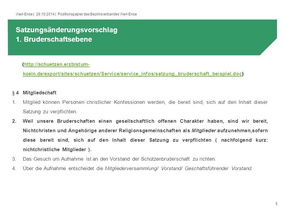 5 Werl-Ense | 29.10.2014 | Positionspapier des Bezirksverbandes Werl-Ense (http://schuetzen.erzbistum- koeln.de/export/sites/schuetzen/Service/service_infos/satzung_bruderschaft_beispiel.doc)http://schuetzen.erzbistum- koeln.de/export/sites/schuetzen/Service/service_infos/satzung_bruderschaft_beispiel.doc § 4 Mitgliedschaft 1.Mitglied können Personen christlicher Konfessionen werden, die bereit sind, sich auf den Inhalt dieser Satzung zu verpflichten.