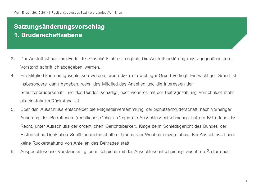 7 Werl-Ense | 29.10.2014 | Positionspapier des Bezirksverbandes Werl-Ense 3.Der Austritt ist nur zum Ende des Geschäftsjahres möglich.