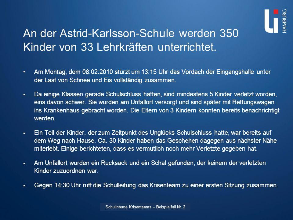 LI: Vorname Name An der Astrid-Karlsson-Schule werden 350 Kinder von 33 Lehrkräften unterrichtet. Am Montag, dem 08.02.2010 stürzt um 13:15 Uhr das Vo