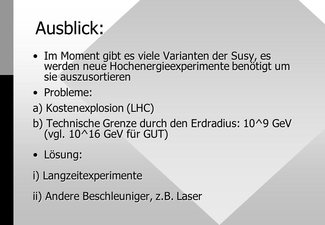 Ausblick: Im Moment gibt es viele Varianten der Susy, es werden neue Hochenergieexperimente benötigt um sie auszusortierenIm Moment gibt es viele Varianten der Susy, es werden neue Hochenergieexperimente benötigt um sie auszusortieren Probleme:Probleme: a) Kostenexplosion (LHC) b) Technische Grenze durch den Erdradius: 10^9 GeV (vgl.
