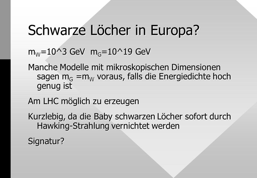 Schwarze Löcher in Europa.