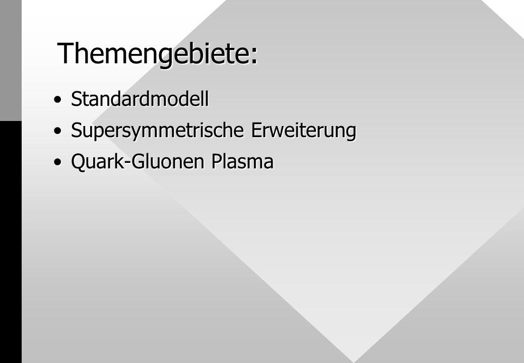 Themengebiete: StandardmodellStandardmodell Supersymmetrische ErweiterungSupersymmetrische Erweiterung Quark-Gluonen PlasmaQuark-Gluonen Plasma