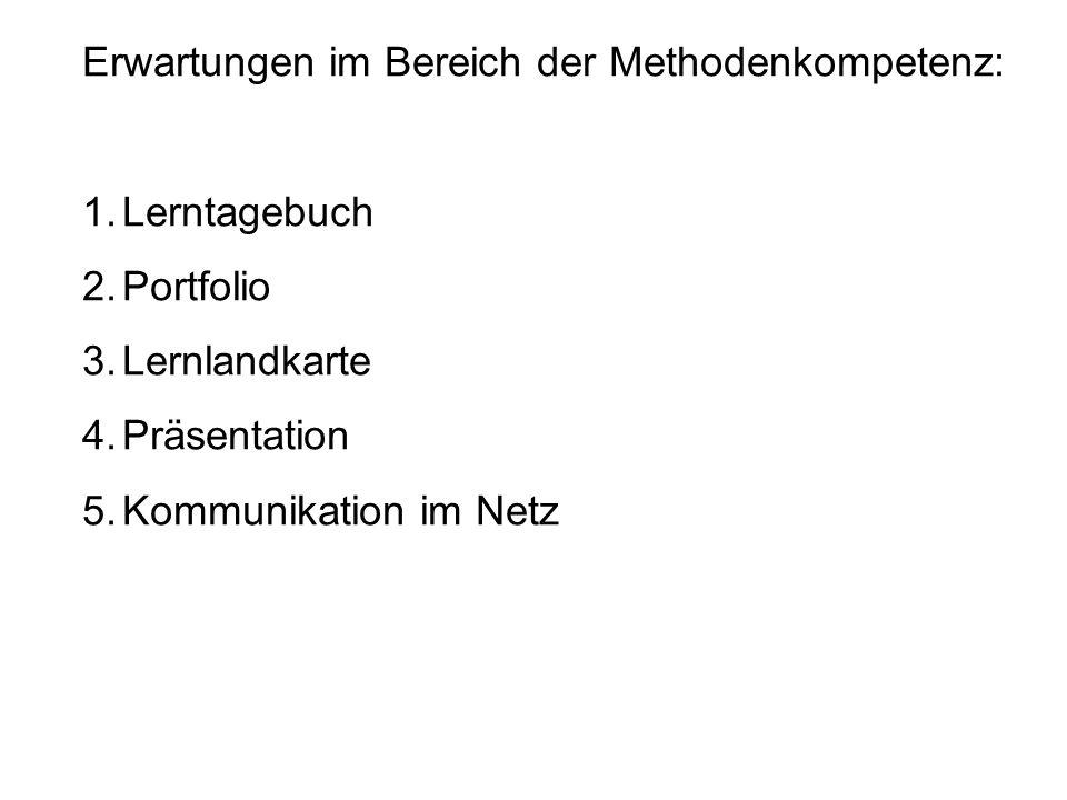 Erwartungen im Bereich der Methodenkompetenz: 1.Lerntagebuch 2.Portfolio 3.Lernlandkarte 4.Präsentation 5.Kommunikation im Netz