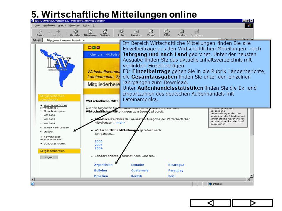 5. Wirtschaftliche Mitteilungen online Im Bereich Wirtschaftliche Mitteilungen finden Sie alle Einzelbeiträge aus den Wirtschaftlichen Mitteilungen, n