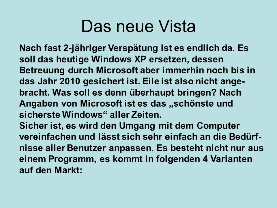 Nach fast 2-jähriger Verspätung ist es endlich da. Es soll das heutige Windows XP ersetzen, dessen Betreuung durch Microsoft aber immerhin noch bis in