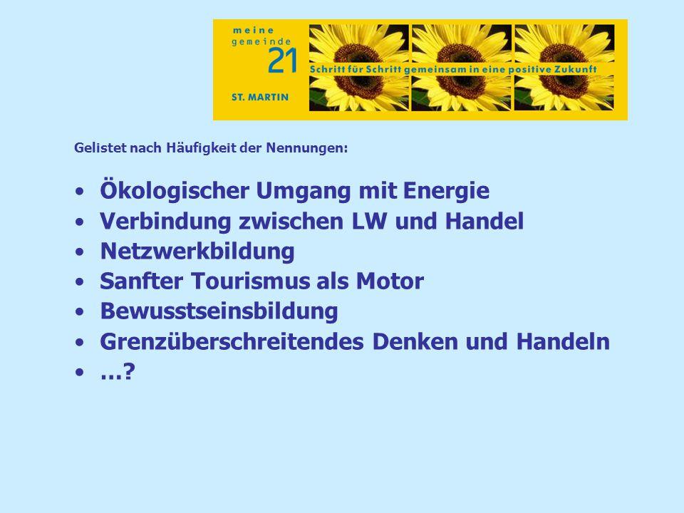 Gelistet nach Häufigkeit der Nennungen: Ökologischer Umgang mit Energie Verbindung zwischen LW und Handel Netzwerkbildung Sanfter Tourismus als Motor Bewusstseinsbildung Grenzüberschreitendes Denken und Handeln …