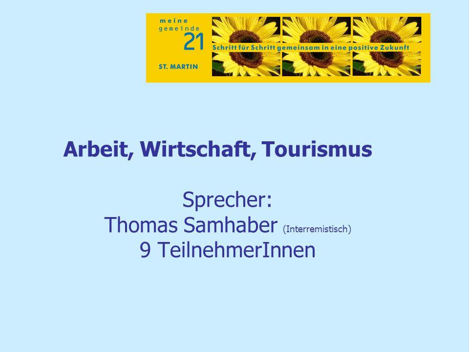 Arbeit, Wirtschaft, Tourismus Sprecher: Thomas Samhaber (Interremistisch) 9 TeilnehmerInnen