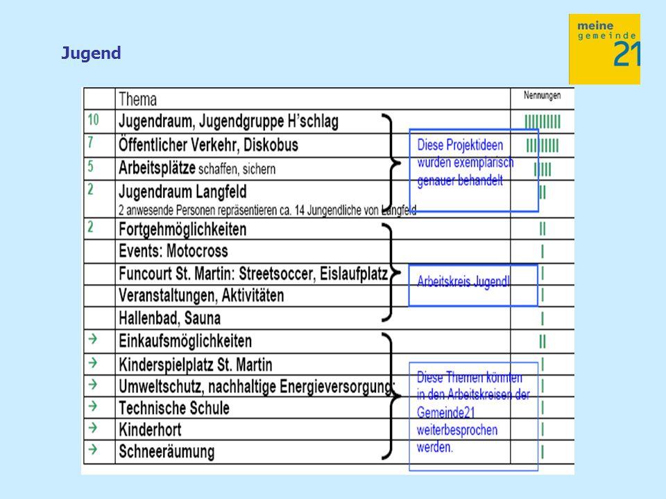 Die nächsten Schritte: Zurückspielen der Leitfragen in die Arbeitskreise Erstellung einer Prioritäten-Projektliste (Arbeitskreise) Zeitplan des G21- Prozesses (Kernteam) Kostenplanung 2008 -2009 (Gemeinde + Kernteam) Newslettersystem (Kernteam und in Folge: PR Gruppe)